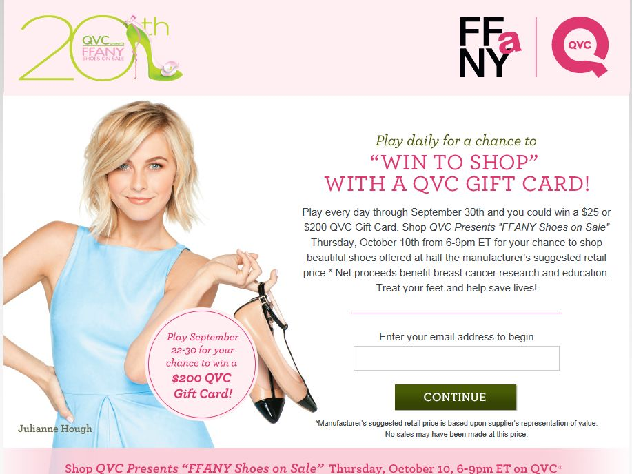 QVC Presents FFaNY Shoes on Sale Instant Win Game