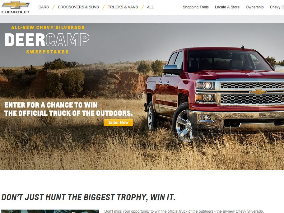 Chevrolet Deer Camp Sweepstakes