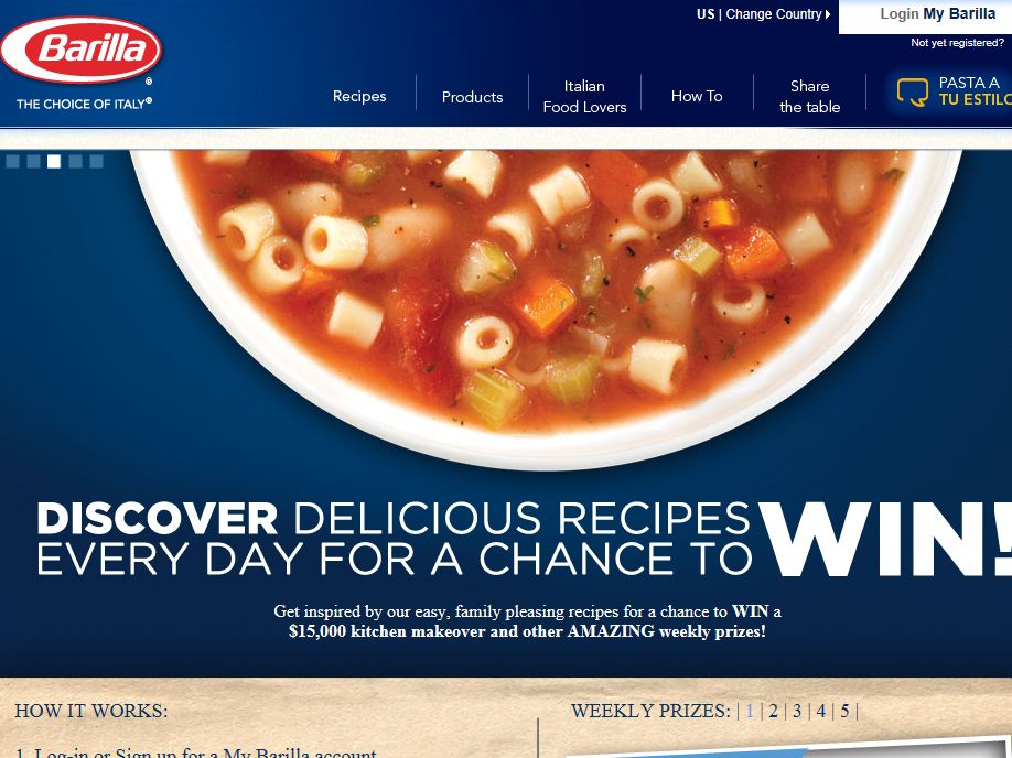 Barilla Recipe Finder Sweepstakes