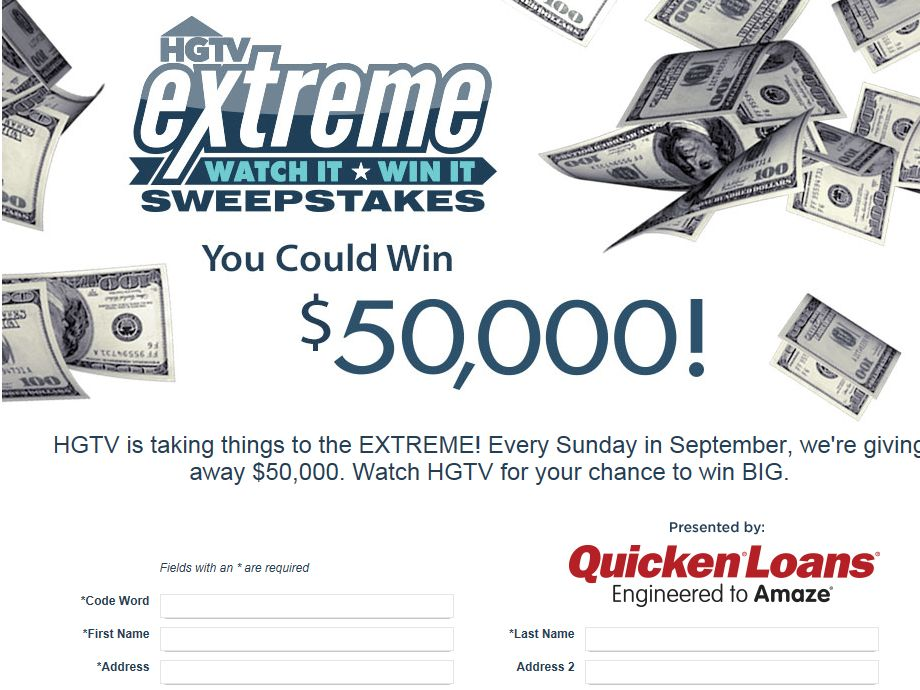 HGTV Extreme Watch It, Win It Sweepstakes