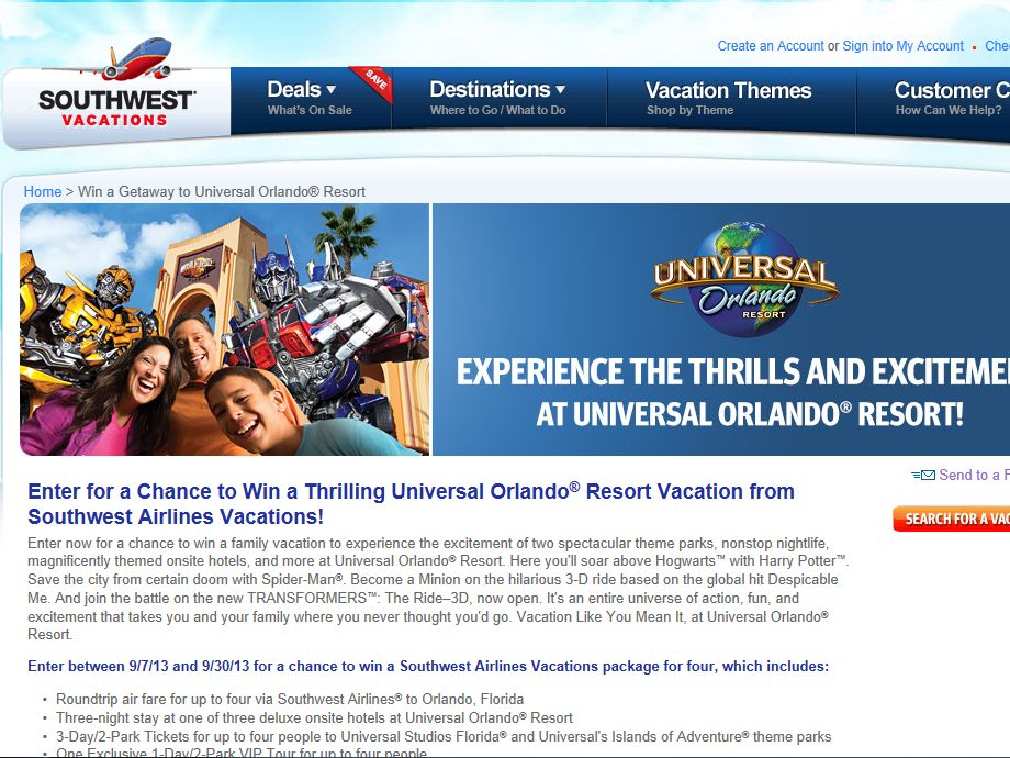 Thrilling Universal Orlando Resort Vacation Sweepstakes