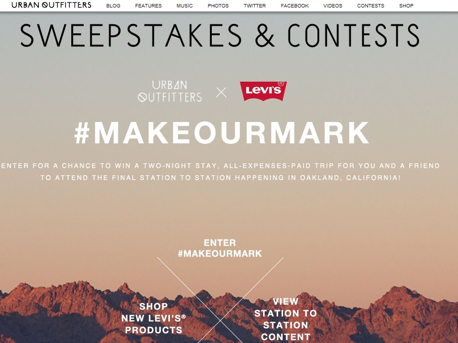 """Urban Outfitters x Levi Strauss & Co """"#MAKEOURMARK"""" Sweepstakes"""