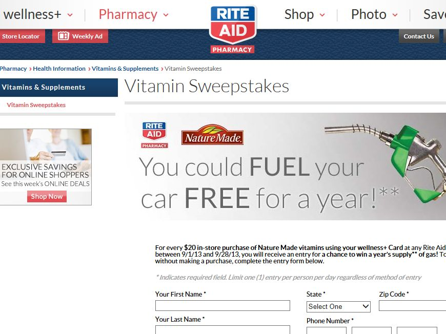 Nature Made Free Gas Sweepstakes