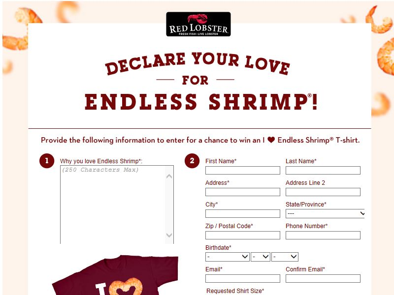 Red Lobster Endless Reasons to Love Endless Shrimp Sweepstakes