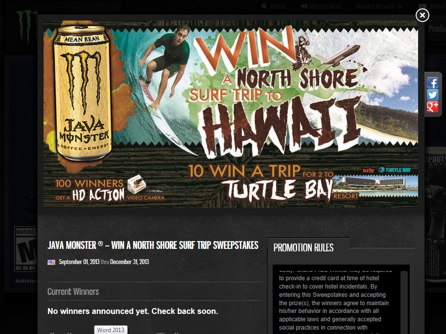 Java Monster – Win a North Shore Surf Trip Sweepstakes
