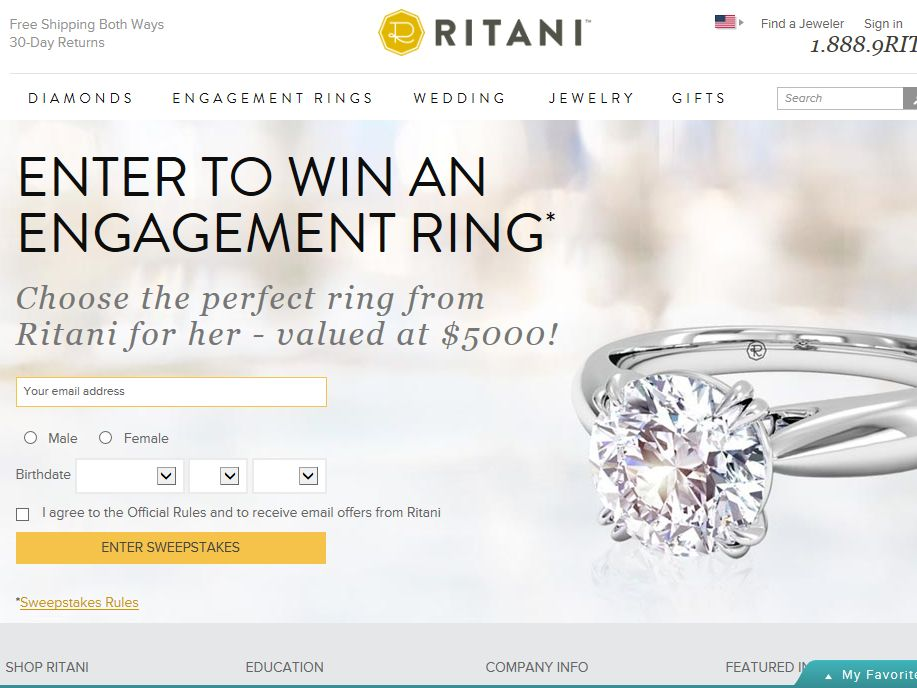 Ritani Win A $5,000 in Engagement Ring Sweepstakes