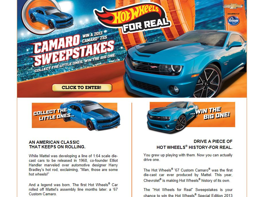 Hot Wheels For Real Camaro Sweepstakes