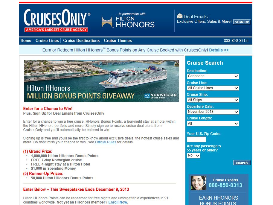 Hilton HHonors Cruises 1,000,000 Points Giveaway