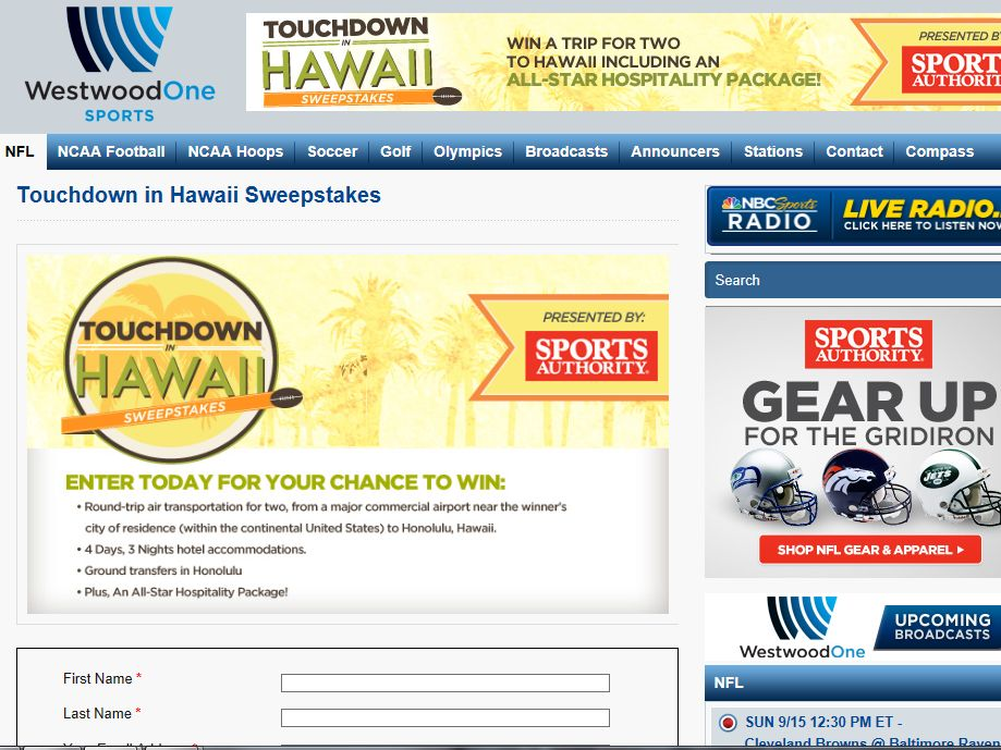 Sports Authority Touchdown in Hawaii Sweepstakes