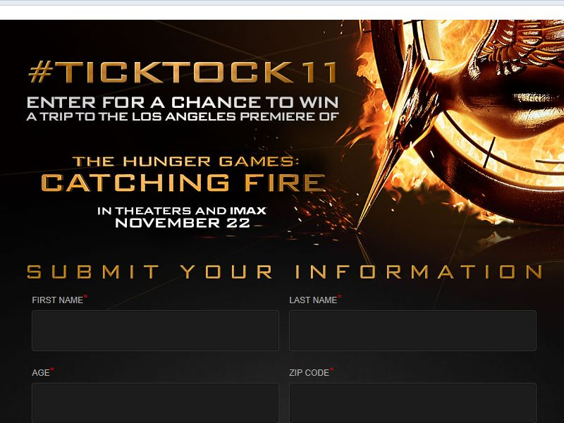 The Hunger Games: Catching Fire #TickTock11 Trip Sweepstakes
