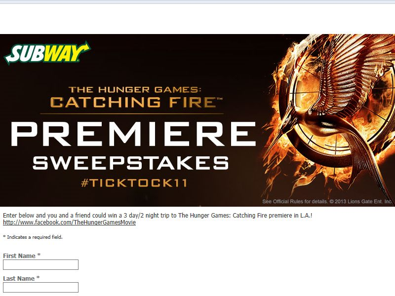 SUBWAY The Hunger Games: Catching Fire Premiere Sweepstakes