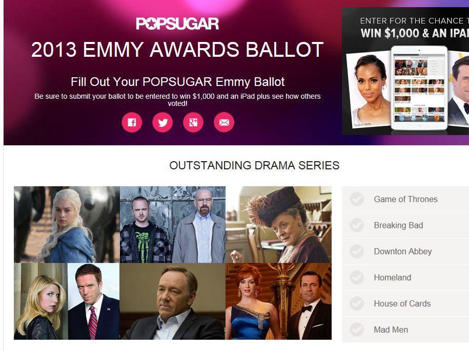 POPSUGAR 2013 Emmy Ballot Contest