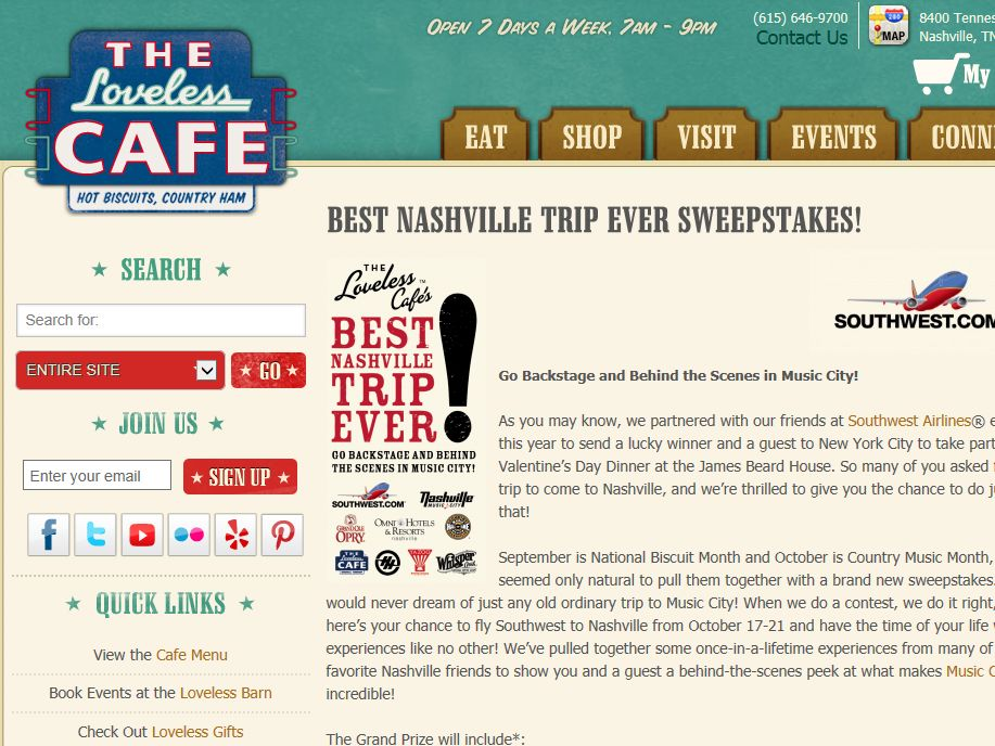Loveless Cafe's Best Nashville Trip Ever Sweepstakes