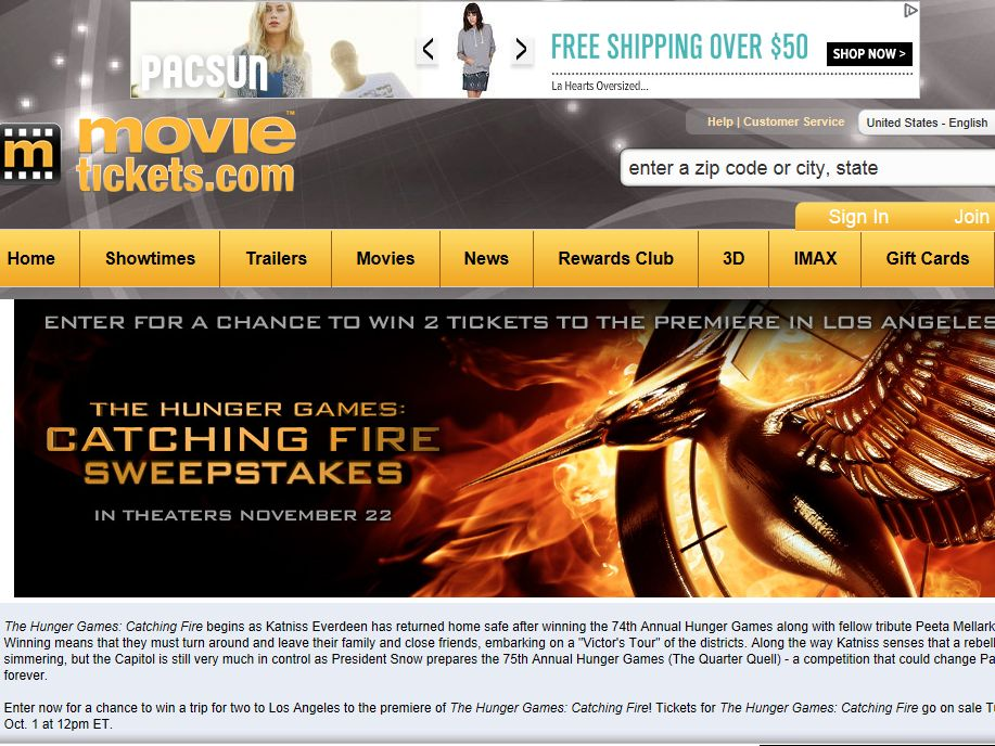 The Hunger Games: Catching Fire Premiere Sweepstakes