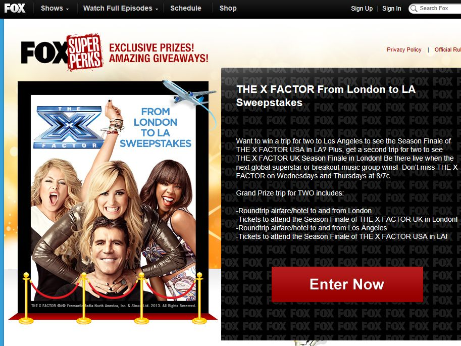 X Factor From London to LA Sweepstakes