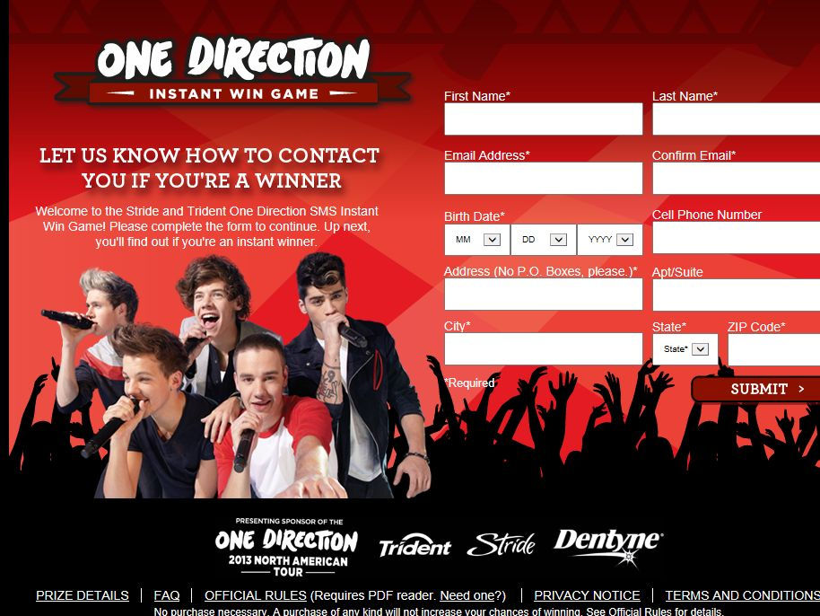 Stride And Trident C-Store One Direction SMS Instant Win Game