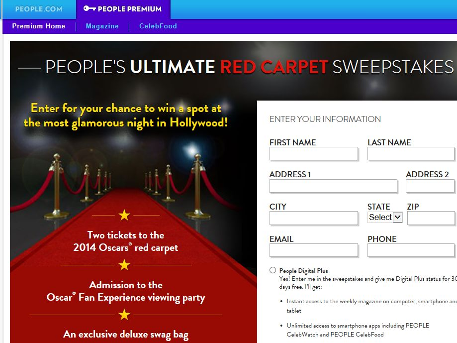 People's Ultimate Red Carpet Sweepstakes