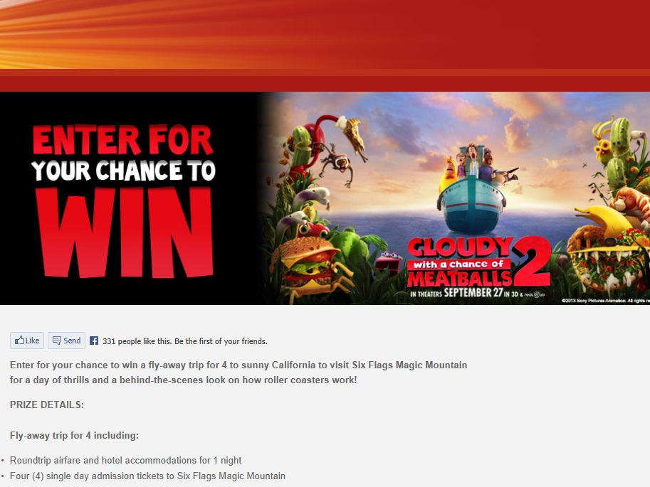 Cloudy with a Chance of Meatballs 2 Six Flags Sweepstakes