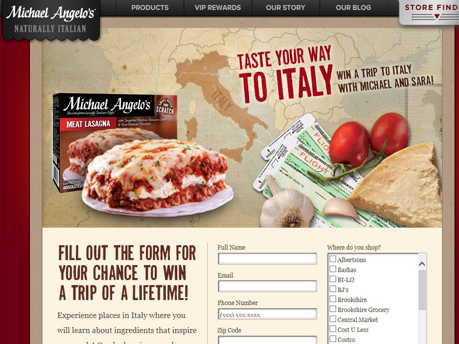 MICHAEL ANGELO's Taste Your Way to Italy Promotion