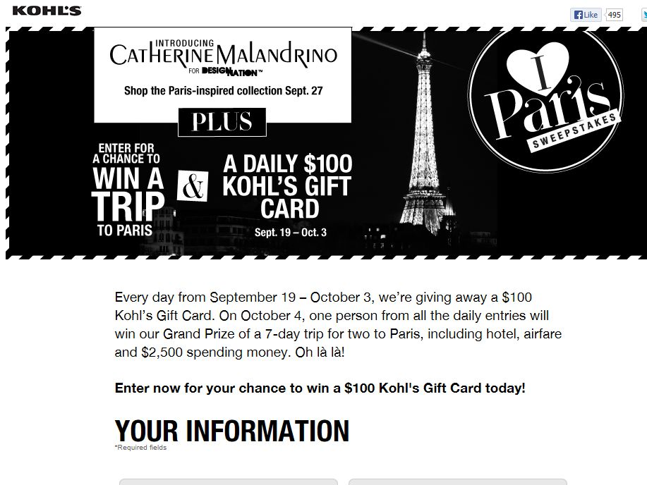 Kohl's I Love Paris Instant Win Game & Sweepstakes