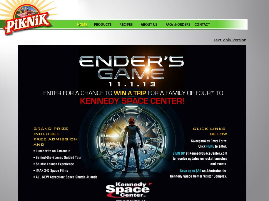 "Pik-Nik ""Ender's Game"" Kennedy Space Center Visitor Complex Sweepstakes"
