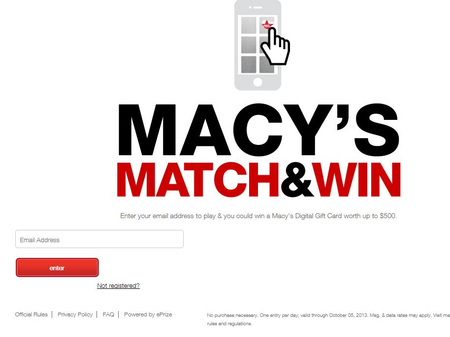 Macy's Match & Win Sweepstakes