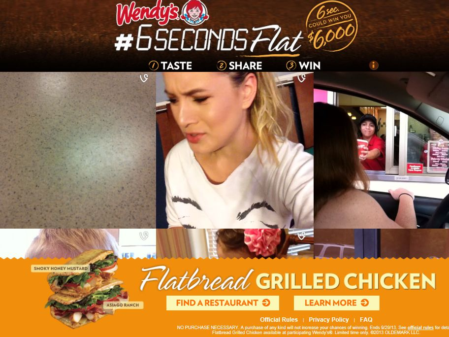 Wendy's Flatbread Grilled Chicken 6SecondsFlat Sweepstakes