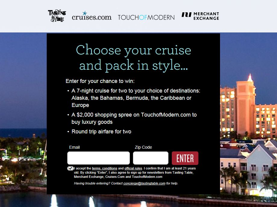 2013 Choose Your Cruise Sweepstakes