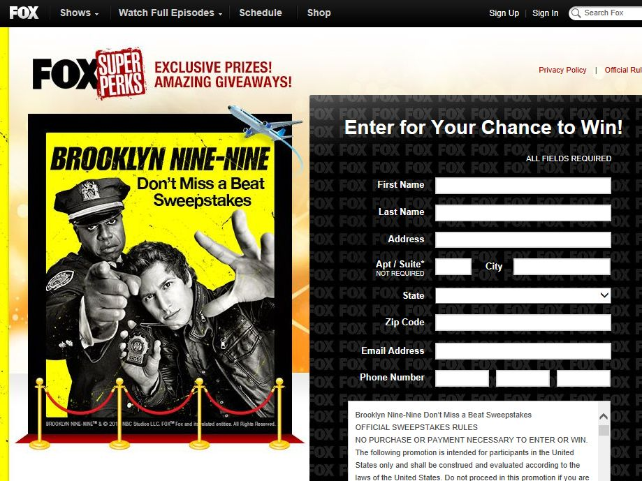 Brooklyn Nine-Nine Don't Miss a Beat Sweepstakes