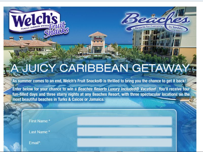 Welch's Fruit Snacks and Beaches Resorts Juicy Getaway Sweepstakes