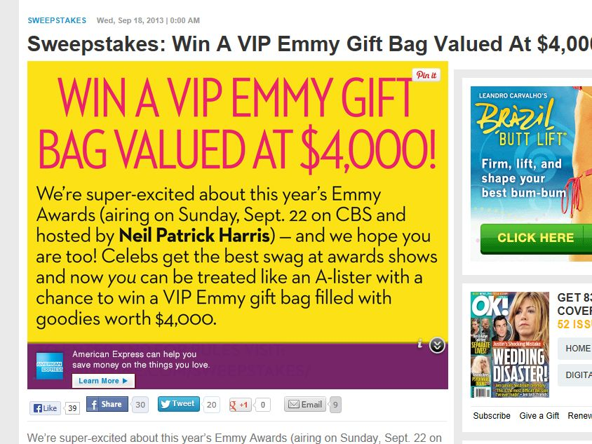 Win a VIP Emmy Gift Bag Sweepstakes