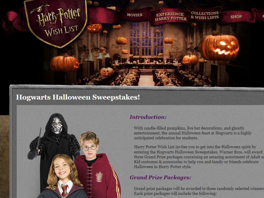 Hogwarts Halloween Sweepstakes