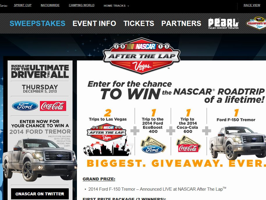NASCAR After the Lap Sweepstakes