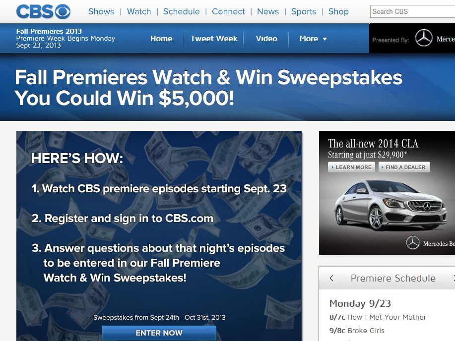 CBS Fall Premieres 2013 Watch and Win Sweepstakes