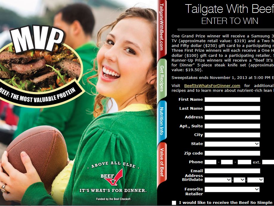 Tailgate With Beef Sweepstakes