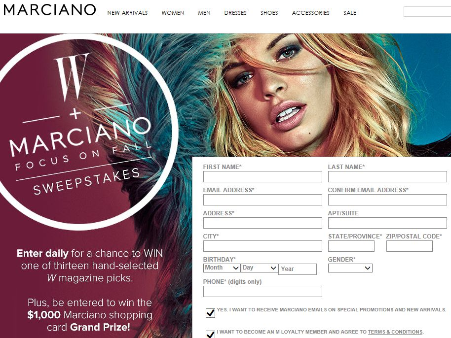 W + Marciano Focused on Fall Sweepstakes
