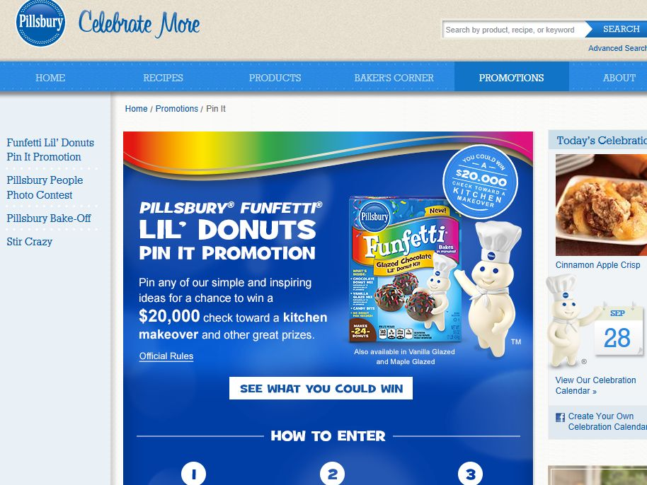 Pillsbury Funfetti Lil' Donuts Pin It Promotion