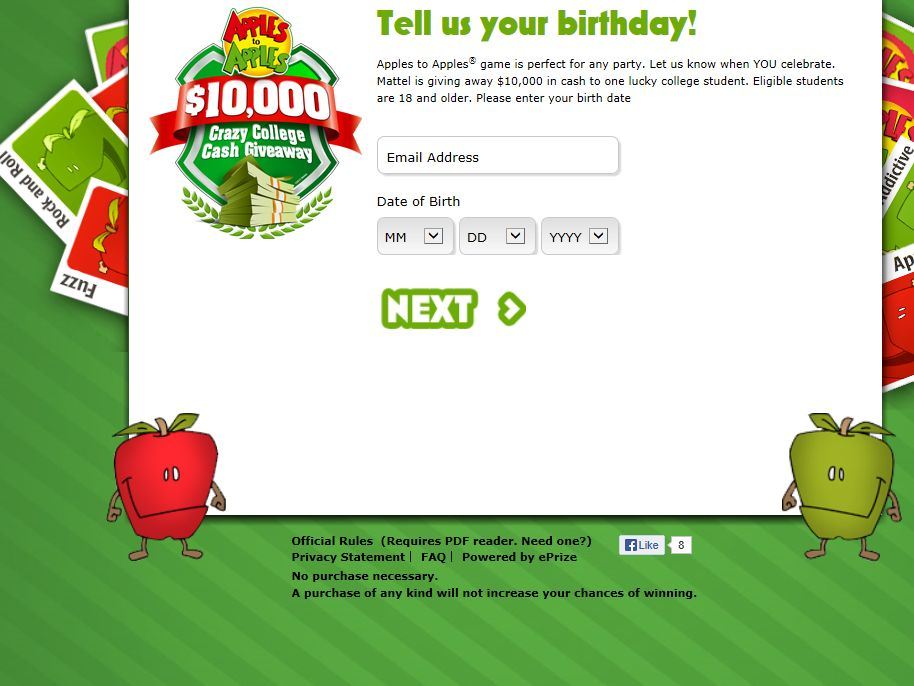 Apples to Apples Crazy College Cash Giveaway