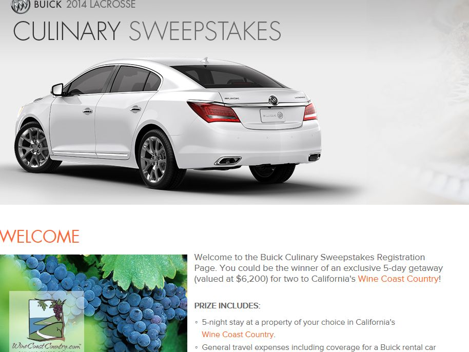 Buick Fall Culinary Sweepstakes
