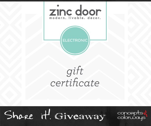 $50 Zinc Door Gift Card Giveaway