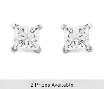 1/4 Carat TW Princess Cut Solitaire Diamond Stud Earrings