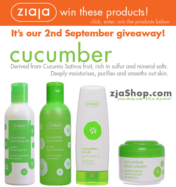 Ziaja: Cucumber Products September 2013 Giveaway!