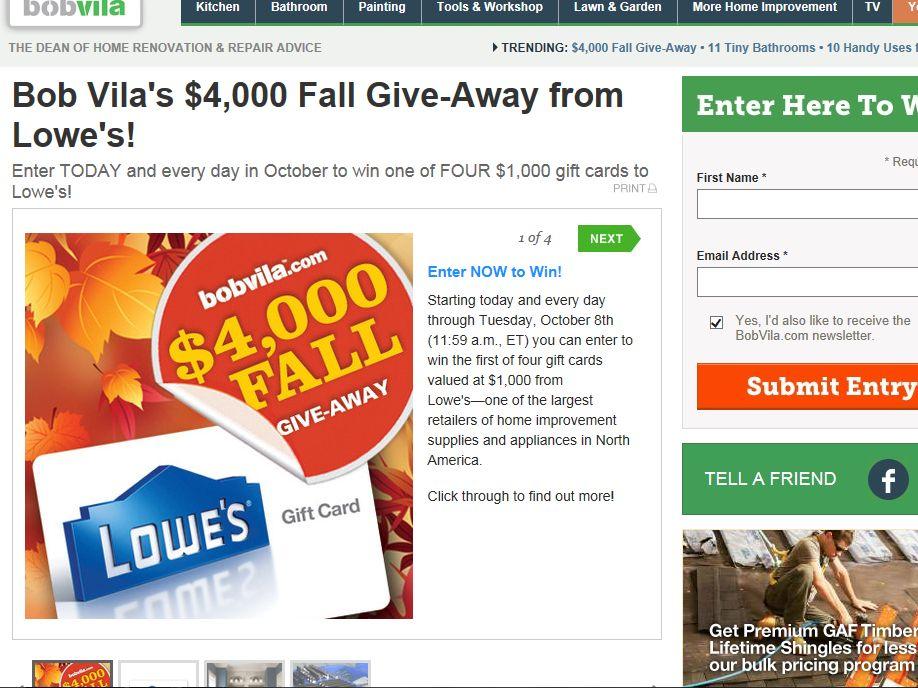 Bob Vila's $4000 Fall Give-Away Sweepstakes