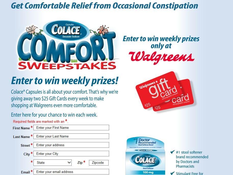 2013 WALGREENS Colace Comfort/Senokot Overnight Relief Sweepstakes