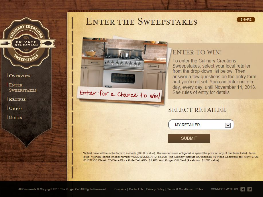 Kroger Co. Culinary Creations Sweepstakes