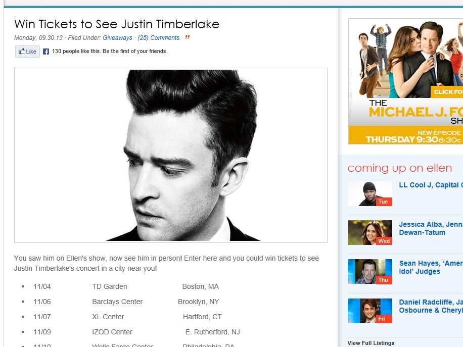 Win Tickets to See Justin Timberlake Sweepstakes