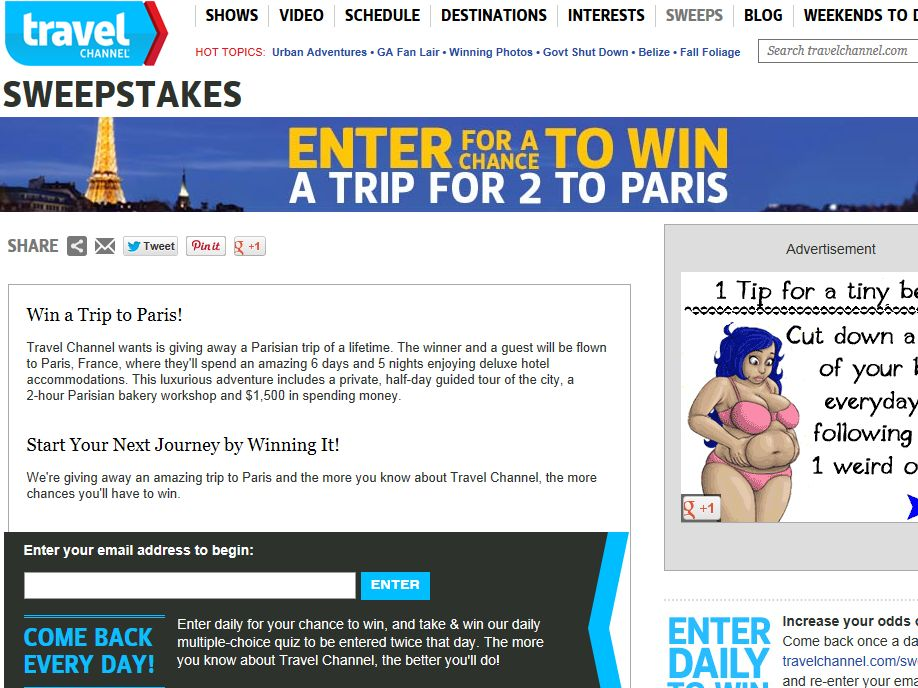 Travel Channel October 2013 Sweepstakes