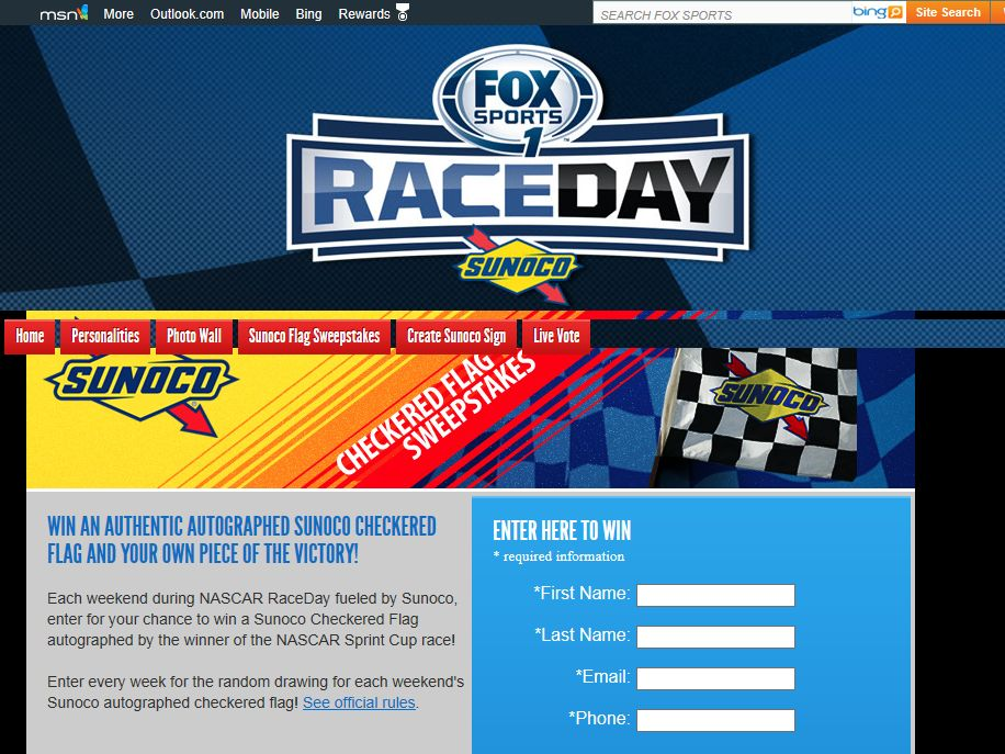 2013 FOX Sports Sunoco Checkered Flag Sweepstakes
