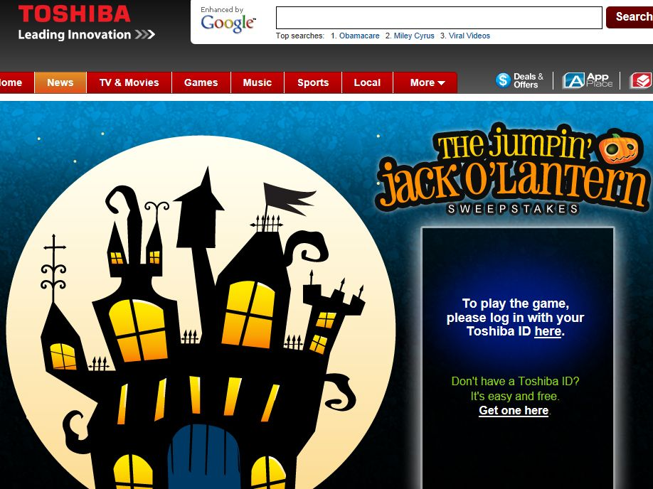 "Toshiba ""Find Jack"" Sweepstakes"
