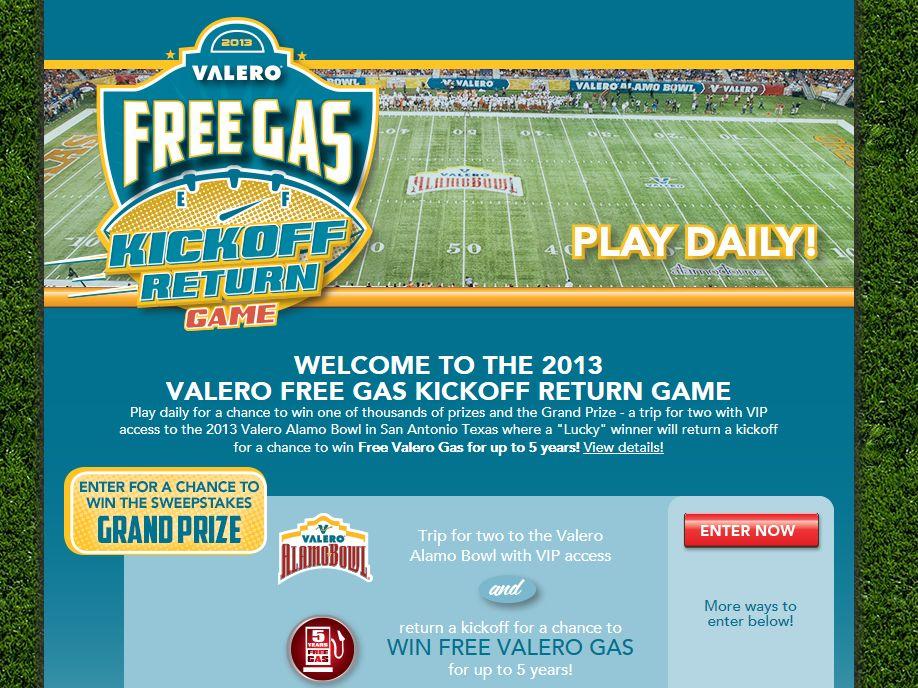Valero Free Gas Kickoff Return Game